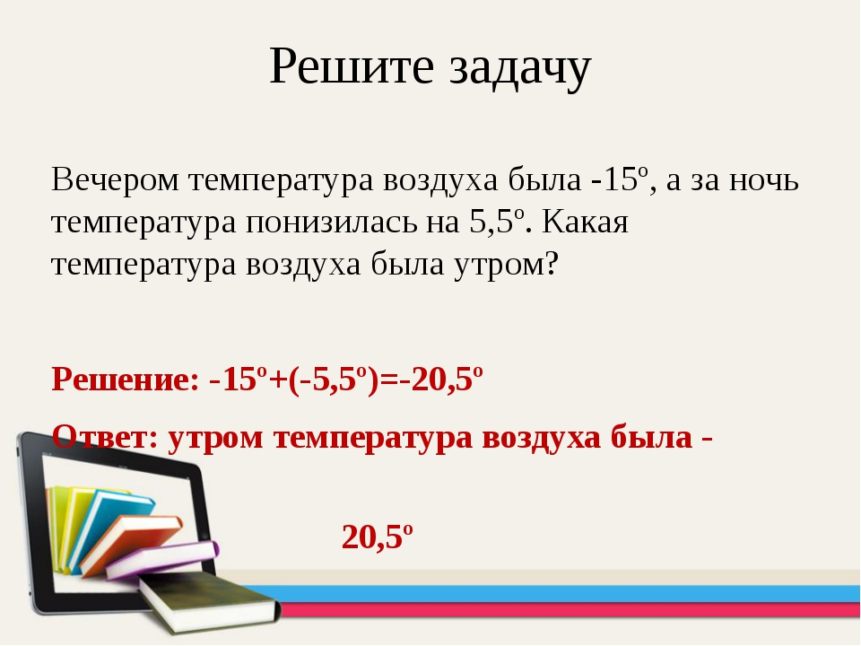 Решите задачу Вечером температура воздуха была -15º, а за ночь температура по...