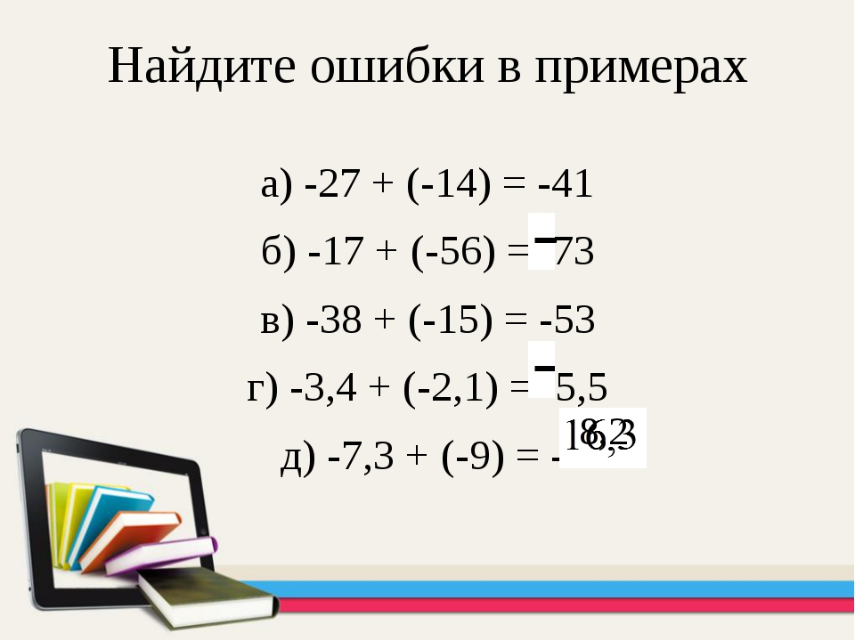 Найдите ошибки в примерах а) -27 + (-14) = -41 б) -17 + (-56) = 73 в) -38 + (...