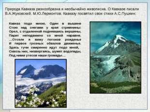 Природа Кавказа разнообразна и необычайно живописна. О Кавказе писали В.А.Жу