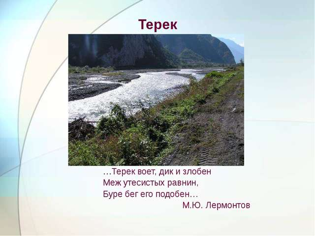 Терек …Терек воет, дик и злобен Меж утесистых равнин, Буре бег его подобен… М...