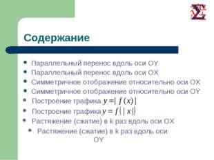 Параллельный перенос вдоль оси OY Параллельный перенос вдоль оси OX Симметрич
