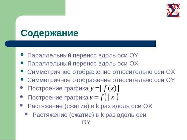 Параллельный перенос вдоль оси OY Параллельный перенос вдоль оси OX Симметрич...