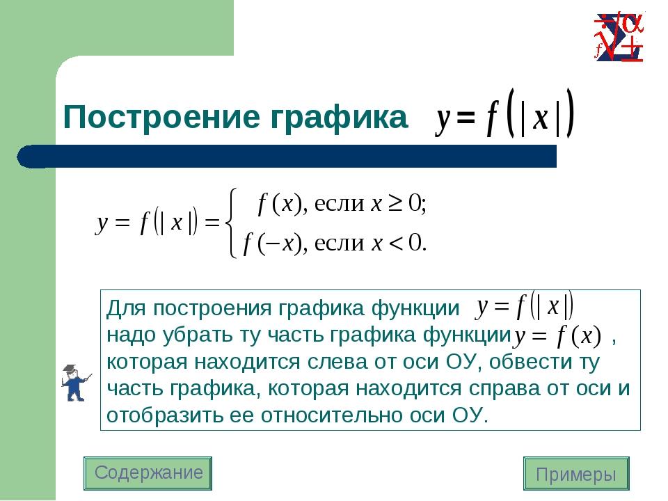 Построение графика Для построения графика функции надо убрать ту часть график...