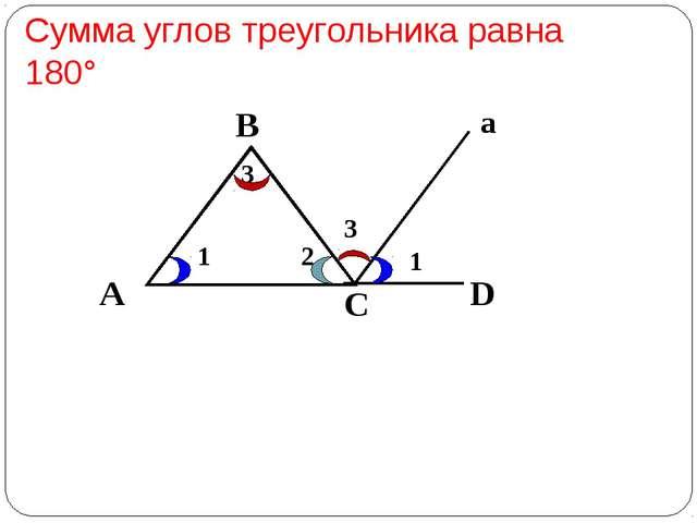 А В С D 1 2 3 1 3 а Сумма углов треугольника равна 180°