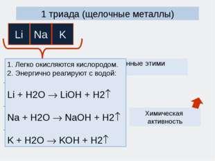 1 триада (щелочные металлы) Простые вещества, образованные этими элементами 1