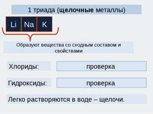 LiOH, NaOH, KOH проверка 1 триада (щелочные металлы) Образуют вещества со схо