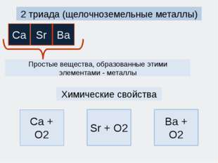 2 триада (щелочноземельные металлы) Простые вещества, образованные этими элем