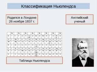Классификация Ньюлендса Английский ученый Родился в Лондоне 26 ноября 1837 г.