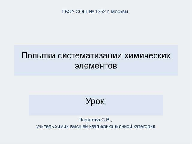 Попытки систематизации химических элементов Урок ГБОУ СОШ № 1352 г. Москвы По...