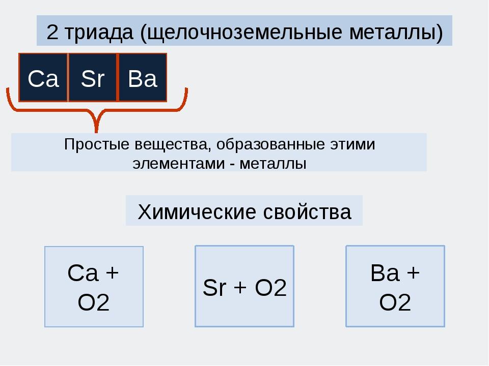2 триада (щелочноземельные металлы) Простые вещества, образованные этими элем...