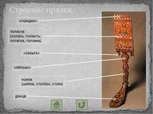 Строение прялки «городки» лопаска (лопать, лопасть, лопатка, головка) «серьги