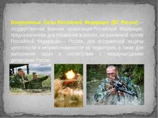 Вооружённые СилыРоссийской Федерации (ВС России)— государственная военная о