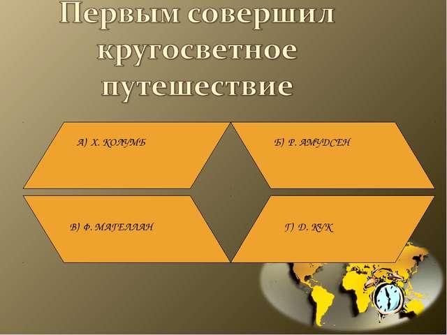 А) Х. КОЛУМБ Б) Р. АМУДСЕН В) Ф. МАГЕЛЛАН Г) Д. КУК