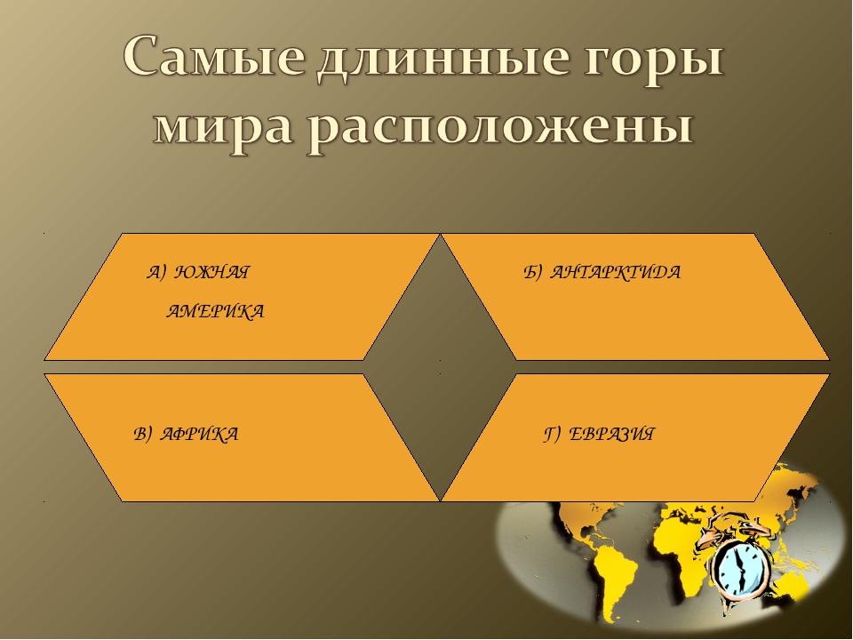 А) ЮЖНАЯ АМЕРИКА Б) АНТАРКТИДА В) АФРИКА Г) ЕВРАЗИЯ