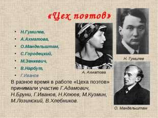 «Цех поэтов» Н.Гумилев, А.Ахматова, О.Мандельштам, С.Городецкий, М.Зенкевич,
