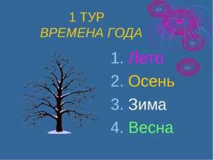 1 ТУР ВРЕМЕНА ГОДА Лето Осень Зима Весна