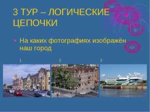 3 ТУР – ЛОГИЧЕСКИЕ ЦЕПОЧКИ На каких фотографиях изображён наш город 1 2 3