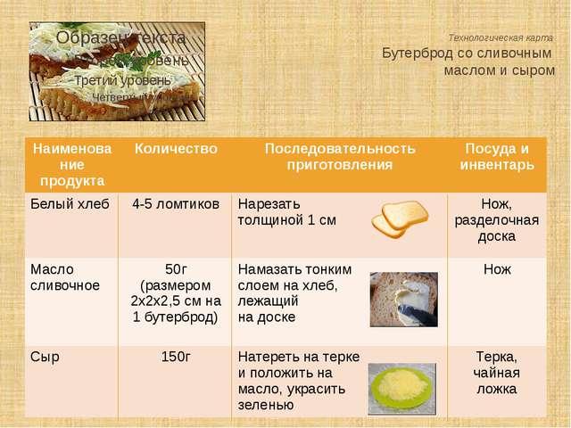 Технологическая карта Бутерброд со сливочным маслом и сыром Наименование прод...