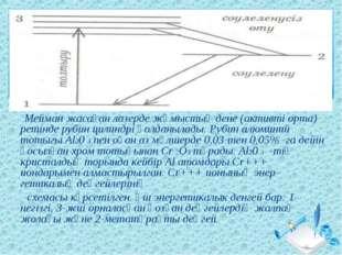 Мейман жасаған лазерде жұмыстық дене (активті орта) ретінде рубин цилиндрі қ