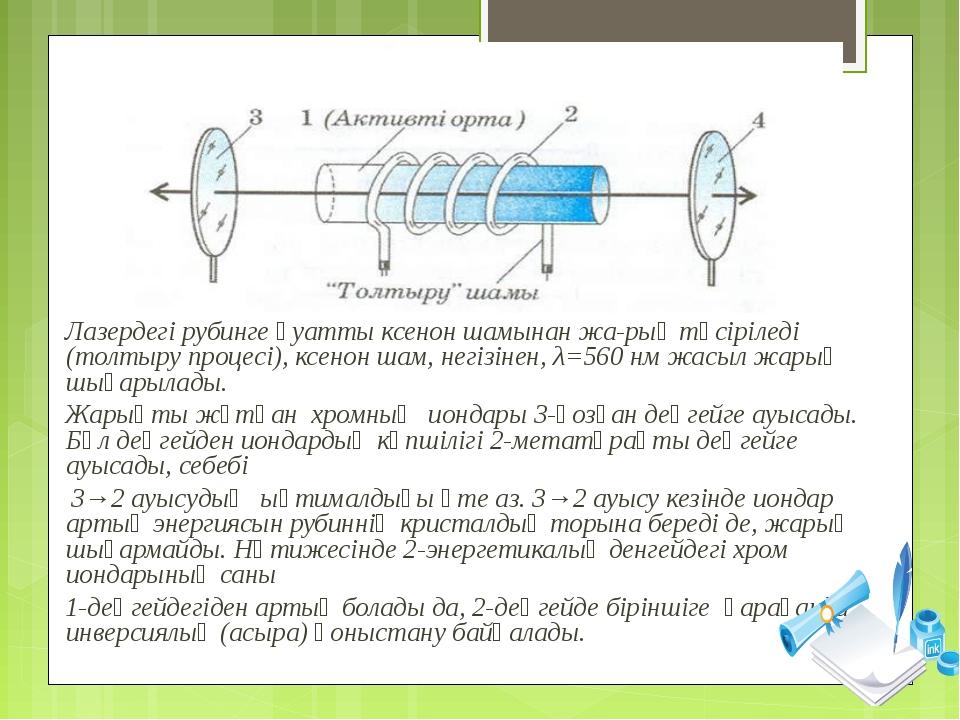 Лазердегі рубинге қуатты ксенон шамынан жарық түсіріледі (толтыру процесі),...