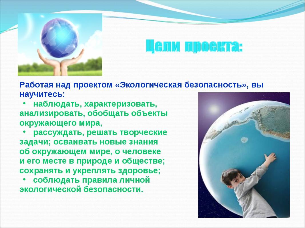 Работая над проектом «Экологическая безопасность», вы научитесь: наблюдать, х...