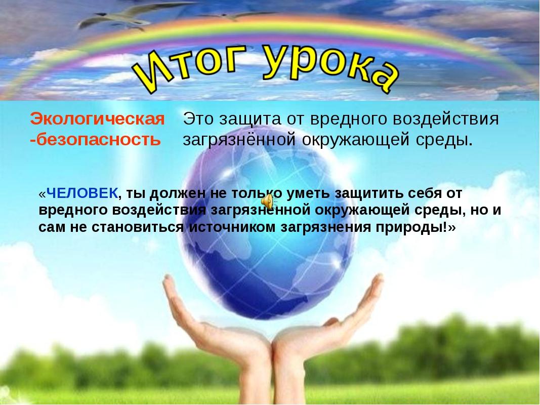 Экологическая -безопасность Это защита от вредного воздействия загрязнённой о...