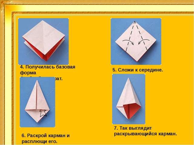 4. Получилась базовая форма Двойной квадрат. 5. Сложи ксередине. 6. Раскрой...