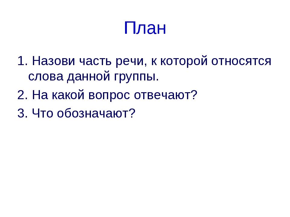 План 1. Назови часть речи, к которой относятся слова данной группы. 2. На как...