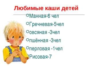 Любимые каши детей Манная-6 чел Гречневая-5чел овсяная -3чел пшённая -3чел п
