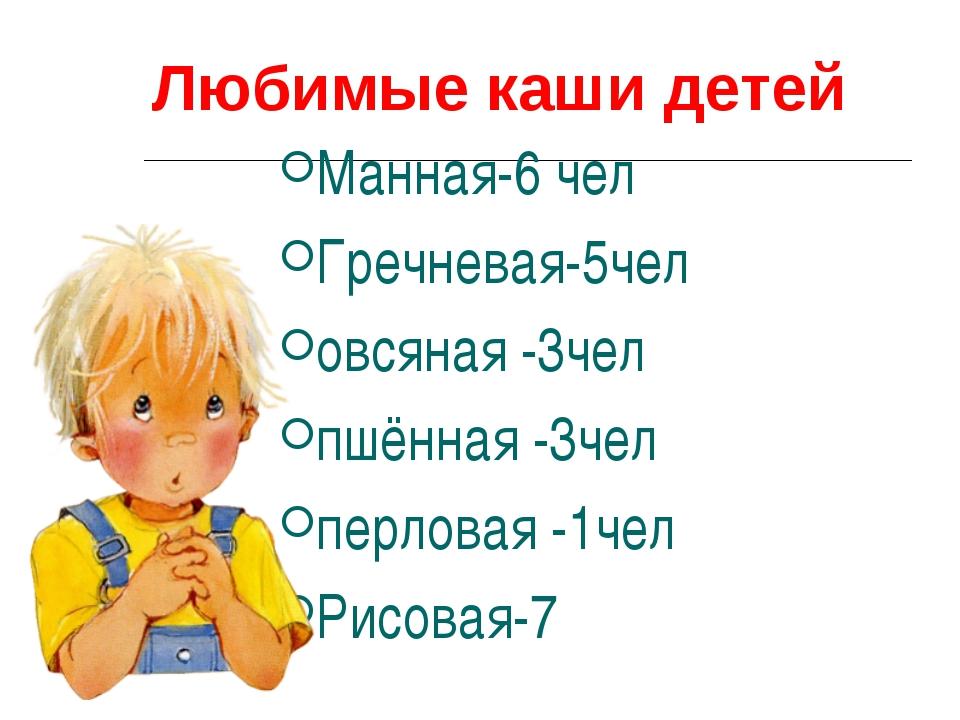 Любимые каши детей Манная-6 чел Гречневая-5чел овсяная -3чел пшённая -3чел п...