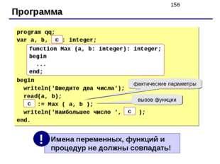 Программа program qq; var a, b, max: integer; begin writeln('Введите два числ