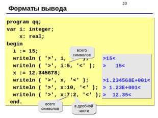 Форматы вывода program qq; var i: integer; x: real; begin i := 15; writeln (