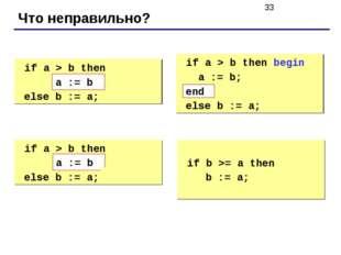Что неправильно? if a > b then begin a := b; else b := a; if a > b then beg