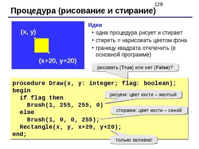 Процедура (рисование и стирание) procedure Draw(x, y: integer; flag: boolean)...