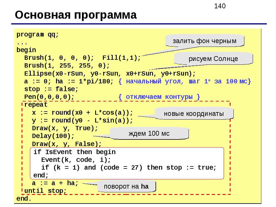 Основная программа program qq; ... begin Brush(1, 0, 0, 0); Fill(1,1); Brush(...