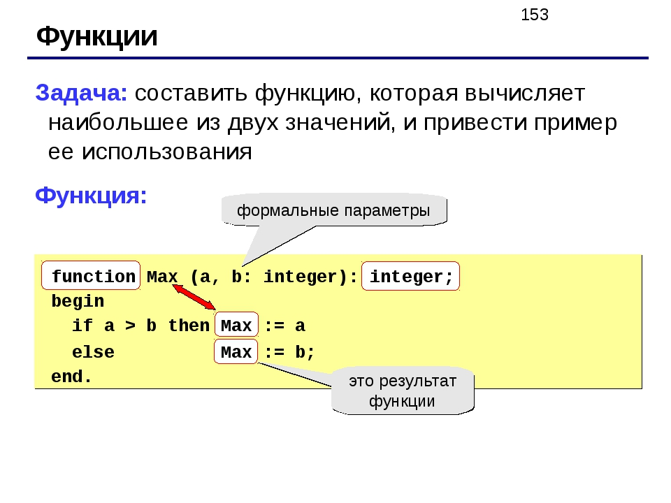 Функции Задача: составить функцию, которая вычисляет наибольшее из двух значе...