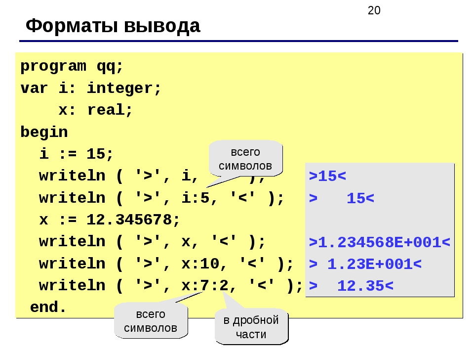 Форматы вывода program qq; var i: integer; x: real; begin i := 15; writeln (...