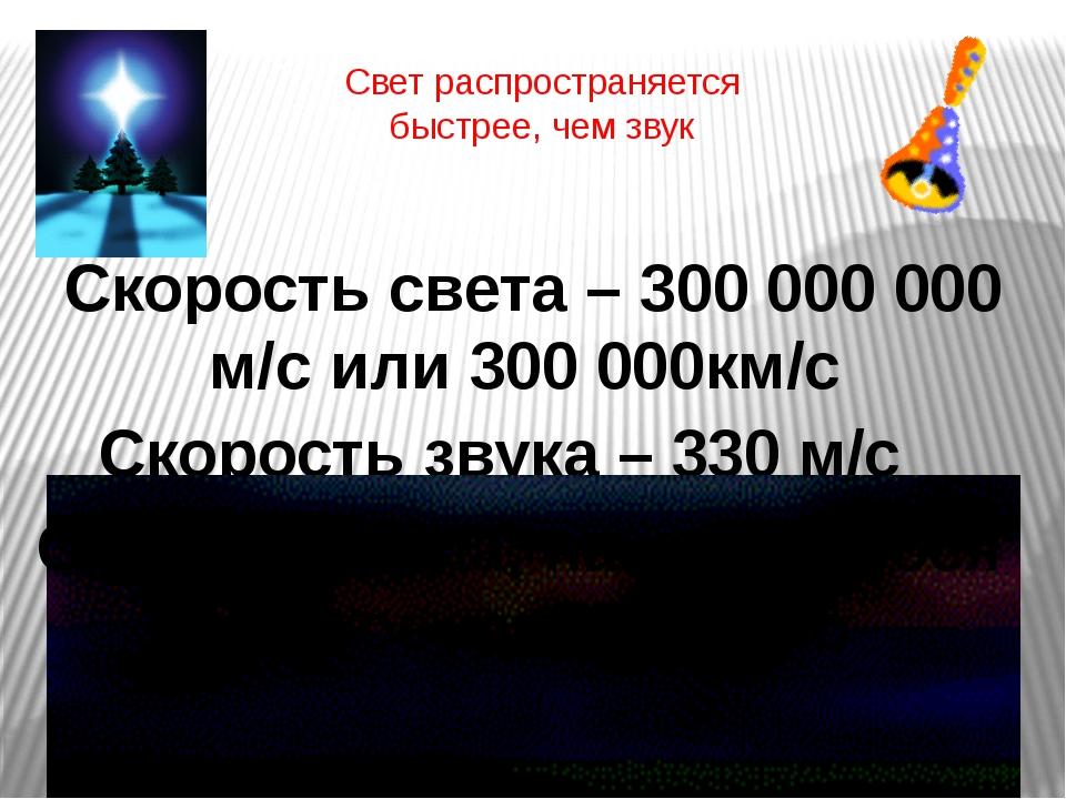 Свет распространяется быстрее, чем звук Скорость света – 300 000 000 м/с или...
