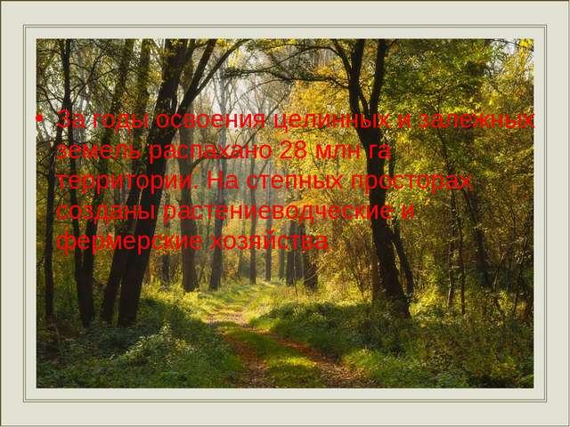 За годы освоения целинных и залежных земель распахано 28 млн га территории. Н...