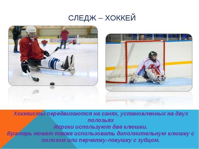 СЛЕДЖ – ХОККЕЙ Хоккеисты передвигаются на санях, установленных на двух полозь...