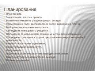 Планирование План проекта Тема проекта, вопросы проекта. Выявление интересов
