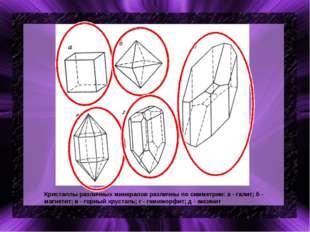 Кристаллы различных минералов различны по симметрии: а - галит; б - магнетит