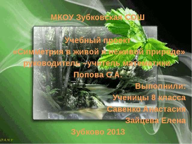 МКОУ Зубковская СОШ Учебный проект «Симметрия в живой и неживой природе» руко...