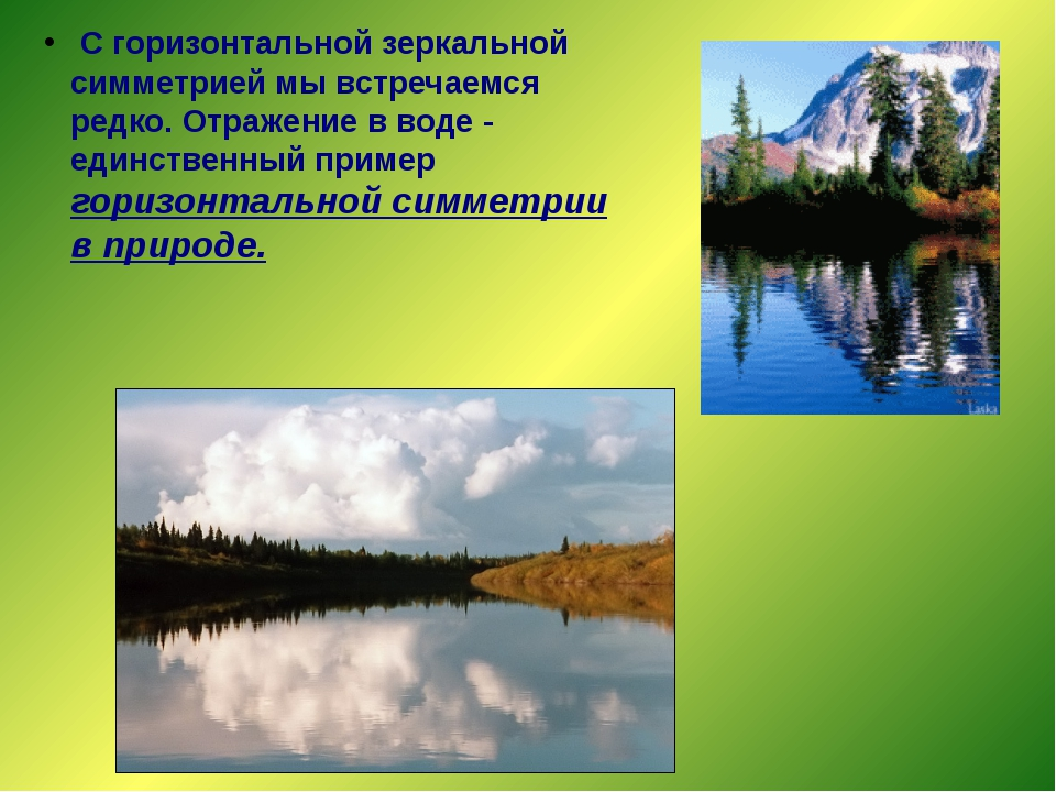 C горизонтальной зеркальной симметрией мы встречаемся редко. Отражение в вод...