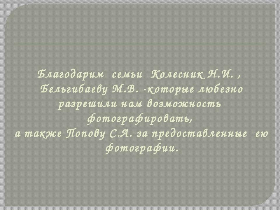 Благодарим семьи Колесник Н.И. , Бельгибаеву М.В. -которые любезно разрешили...