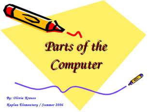 Parts of the Computer By: Olivia Krause Kaplan Elementary / Summer 2006