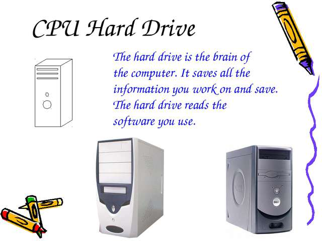 CPU Hard Drive The hard drive is the brain of the computer. It saves all the...