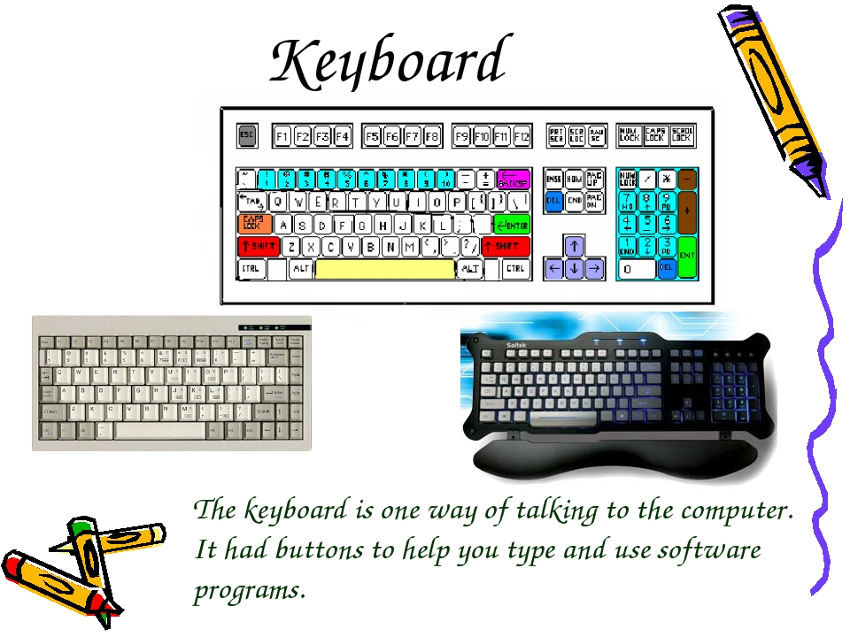 Keyboard The keyboard is one way of talking to the computer. It had buttons t...