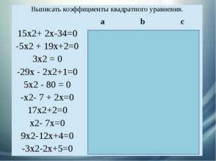 Выписать коэффициенты квадратного уравнения. а b с 15х2+ 2х-34=0 15 2 - 34 -