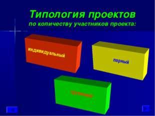 Типология проектов по количеству участников проекта: индивидуальный парный гр